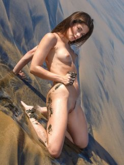 Free nude gallery of sexy babe Little Caprice in bikini strips naked and exposes her perfect tits, tight ass and nice shaved pussy.